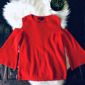 ANN TAYLOR 100% Cashmere Cold Shoulder Sweater M